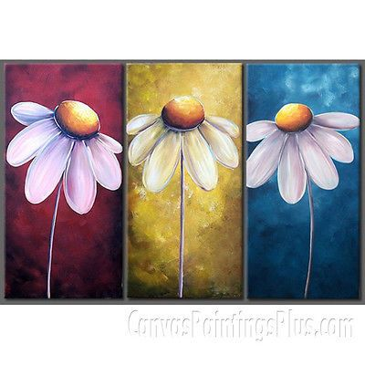"3 Panel Daisy Flower Large Wall Art Oil Painting on Canvas 14"" x 28"" X3PC 