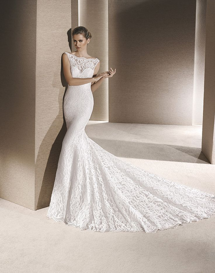 Leanne Clical Fit And Slim Flare Wedding Dress In Soft Lace With Beautiful Illusion Neckline