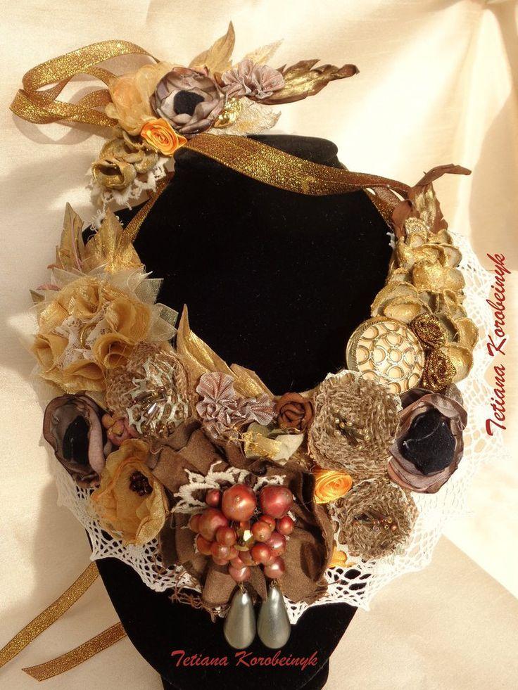 Collana e bracciale  style Boho, bigiotteria , fiori di nastro, by Silkribbonembroidery, 50,00 € su misshobby.com