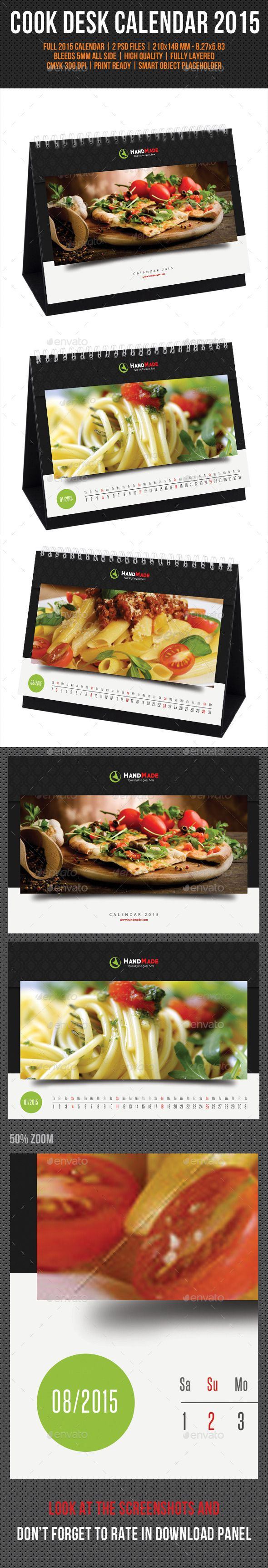 Cook And Food Desk Calendar 2015 Template | Buy and Download: http://graphicriver.net/item/cook-and-food-desk-calendar-2015-v02/9713480?ref=ksioks