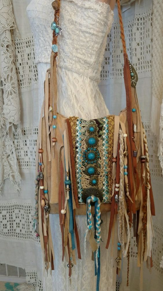 Handmade Tan Suede Leather Shoulder Fringe Bag Hippie Boho Hobo Purse tmyers #Handmade #ShoulderBag