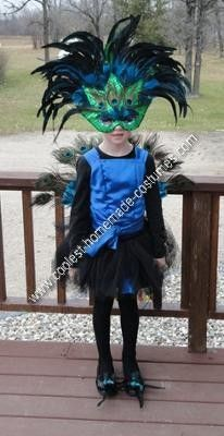 Homemade Peacock Halloween Costume Idea: My 7 year old daughter always wants to be some kind of a stinkin' princess for Halloween, so I was on a quest to find something else she would like.  My