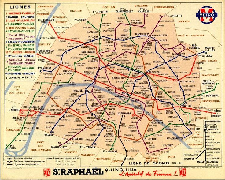 Un plan du métro parisien en 1939.   19 cartes qui vont vous faire voir Paris différemment