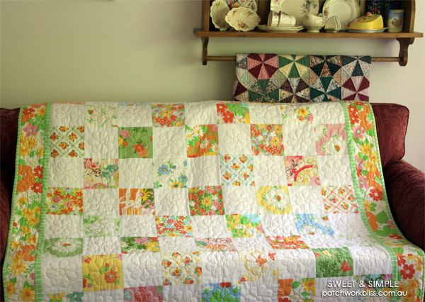 Sweet and Simple is exactly that! The simple squares are set in a checker-board pattern with alternating fabrics It is easy to make and is a great place to start for a beginner quilter.