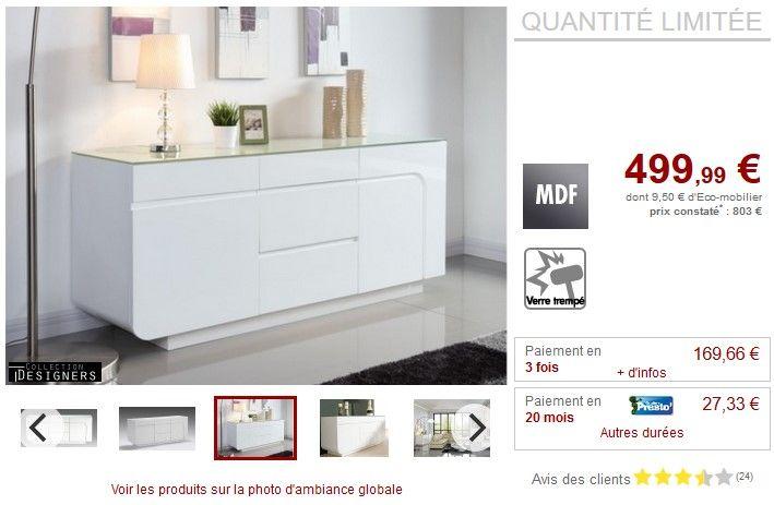 Buffet bas BRADY MDF laqué blanc et verre trempé Blanc pas cher prix Buffet Vente Unique 499.99 € TTC prix constaté 803 €