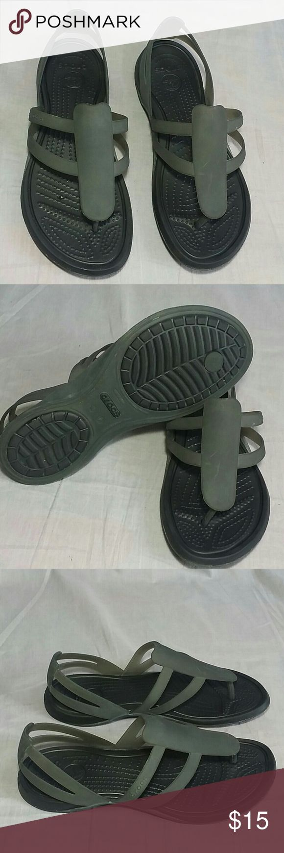 Women's Crocs Sandals Gray/Black 7 M Rubber Item is in a good condition, NO PETS AND SMOKE FREE HOME. CROCS Shoes Sandals