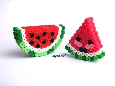 SANDÍAS 3D KAWAII de hama beads (perler beads) | Watermelons - YouTube