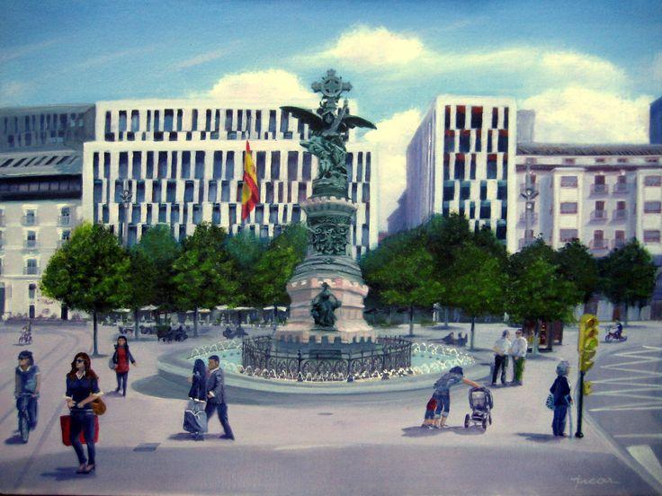 Óleo 61 x 46 de Javier Úcar - Tríptico Plaza de España - Zaragoza (Detalle centro)