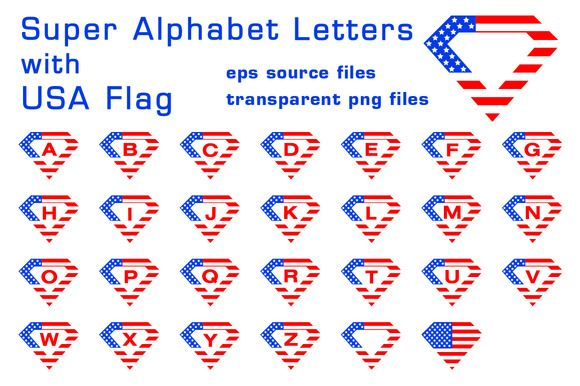 Super alphabet letters with USA flag by stockimagefolio on @creativemarket