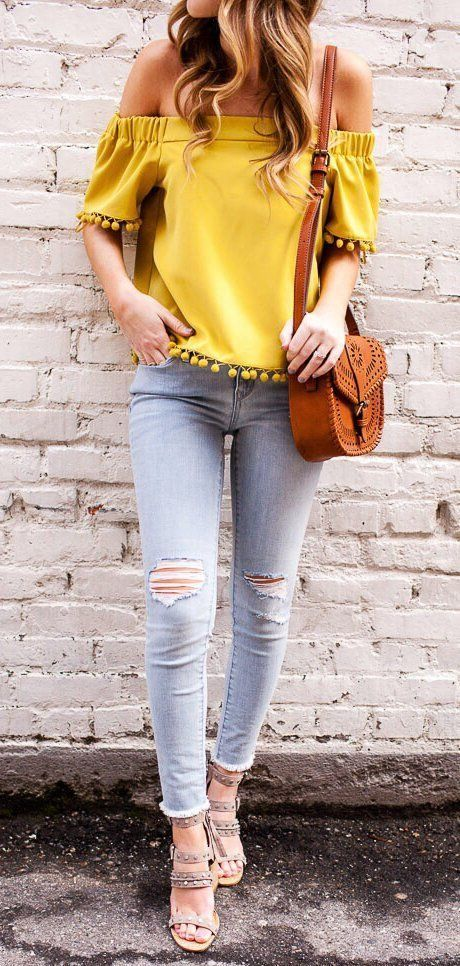 af2916675f0 how to wear a brown bag : yellow off shoulder top + ripped jeans + sandals