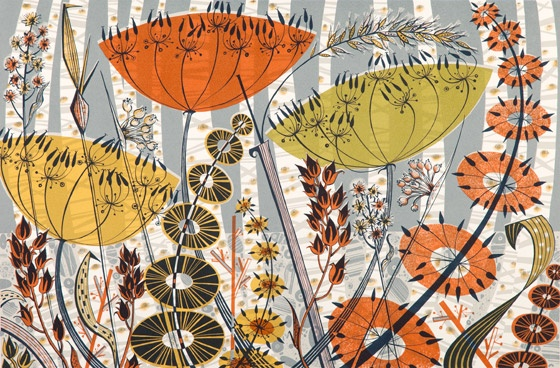 'Spey Birches' by British printmaker Angie Lewin (b.1963). Screenprint, 580 x 380 mm. via the artist's site