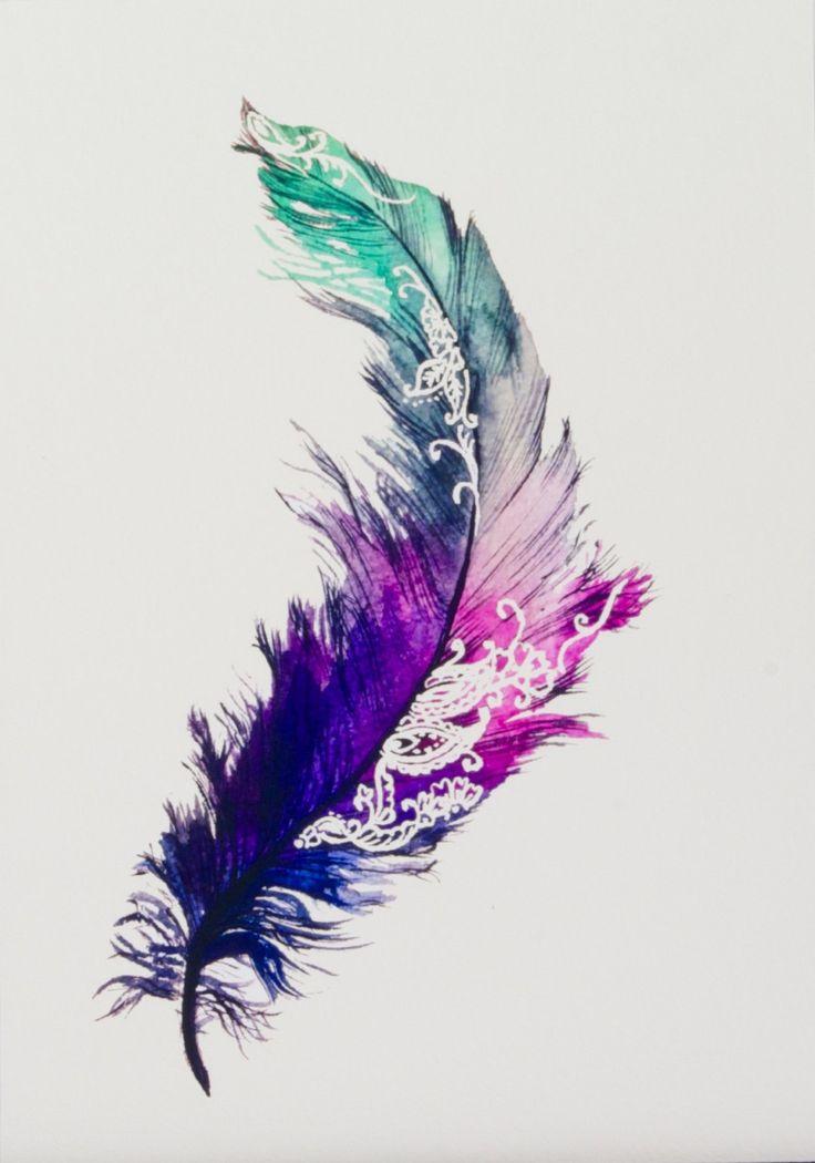 Impresión de pintura pluma original con detalles de henna patrones dentro del diseño. Mezcla de colores hermosos juntos capturando un sueño como la