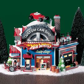 "Department 56: Products - ""Hot Wheels™ Custom Car Shop"" - View Lighted Buildings. Retired north pole"