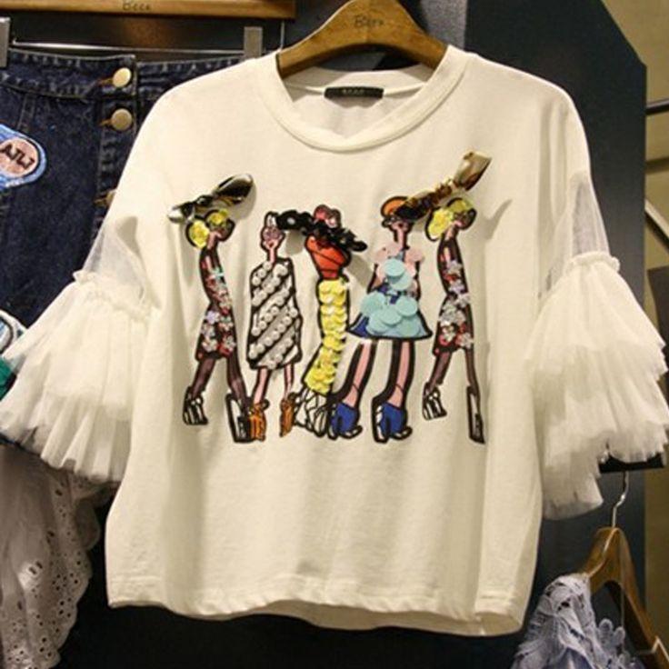 2017 Verão Novo Coreano T shirts para As Mulheres Impressão Solto Caricatura T shirt Gaze Patchwork Meia Manga Feminino Alunos Tops Tee Femme em Camisetas de Das mulheres Roupas & Acessórios no AliExpress.com | Alibaba Group