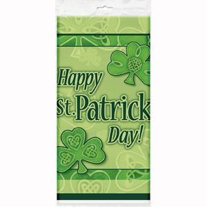 M29823 - St Patrick's Day Tablecover Tablecover St Patrick's Day Clover Plastic (137cm x 213cm} Please note: approx. 14 day delivery.