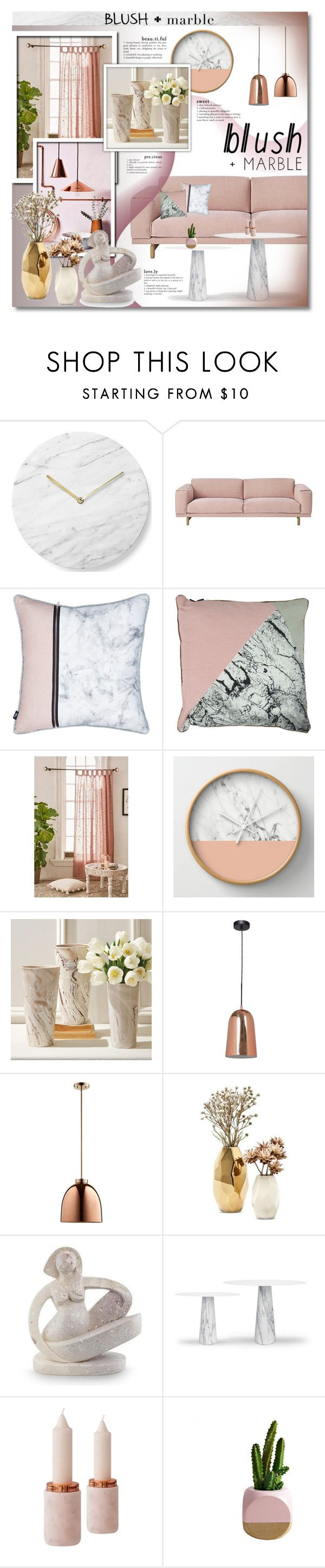 """""""Blush + Marble"""" by anitadz ❤ liked on Polyvore featuring interior, interiors, interior design, home, home decor, interior decorating, Menu, Muuto, Urban Outfitters and Tozai"""