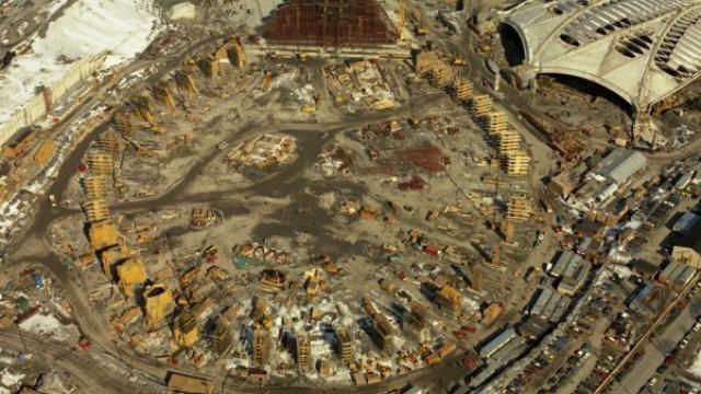 Construction du stade olympique 1975
