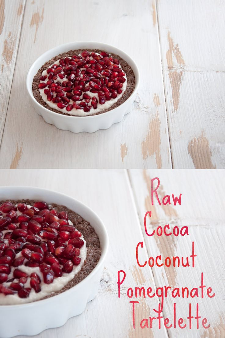 #vegan #raw Cocoa Coconut Pomegranate Tartelette
