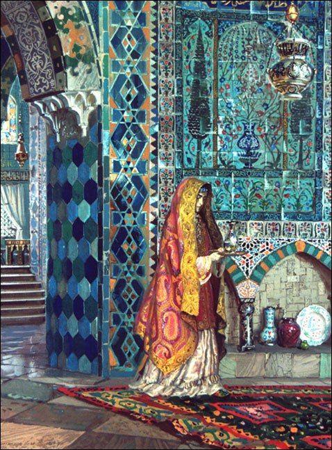 Н. Хазиахметов. Внутренние покои ханского дворца.N. Haziakhmetov. Internal rooms of the Khan's palace