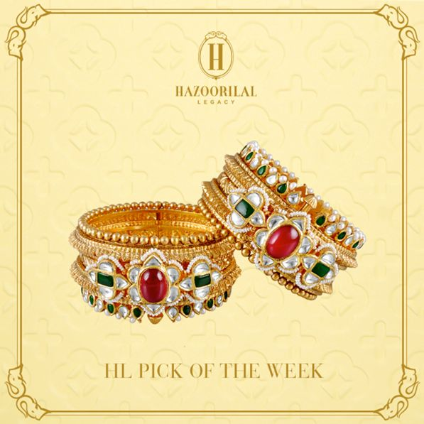 #HLPickOfTheWeek : The charm of the ancient 1800s is brought to life with these #Gold and #Polki #Bracelets.  #HazoorilalLegacy #Hazoorilal #Jewelry #Gold #KundanPolki