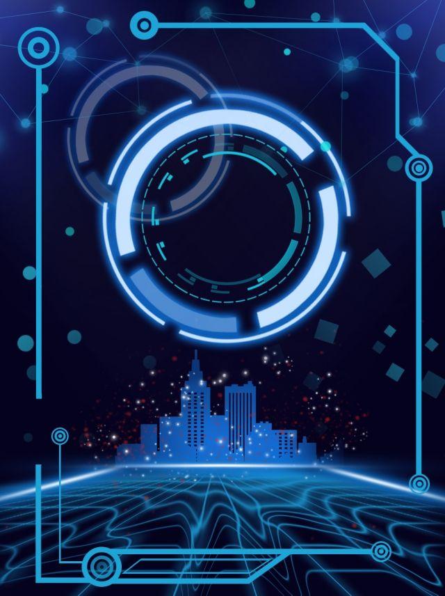 Cool Technology Intelligent Blue Grid Circle Background City Fotografi Desain Poster Bingkai Foto