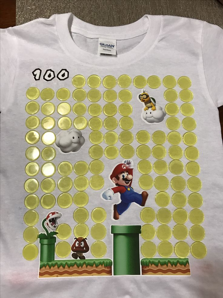 Super Mario 100th day of school shirt.