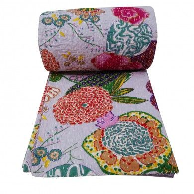 Purple Designer Cotton Quilt Kantha Floral Print Gudri Queen Size Bedspread