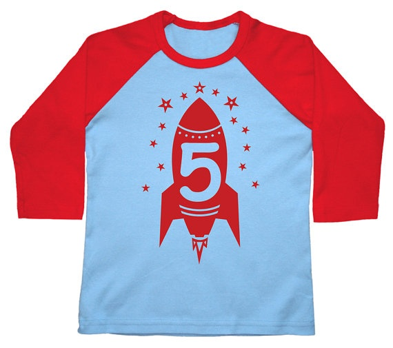 Fifth Birthday shirt kids toddler Happy 5th Party Red Rocket American Apparel Raglan 3/4 Sleeve tshirt 2nd, 3rd, 4th, 5th