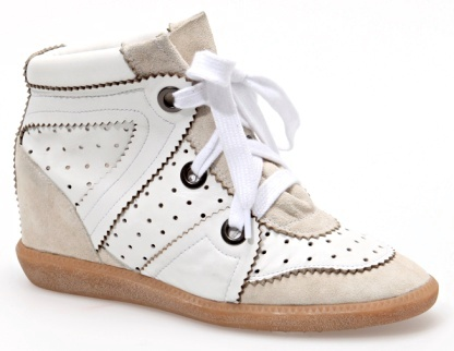 ISABEL MARANT PERKINS SUEDE AND LEATHER WEDGE SNEAKERS