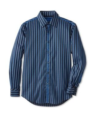 70% OFF Zagiri Men's Badfish Striped Shirt (Navy)