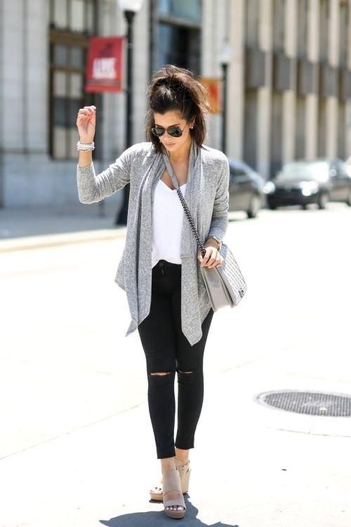 water fall gray cardigan outfit,Fall inspiring looks http://www.justtrendygirls.com/fall-inspiring-looks/