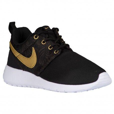 Nike Roshe One - Boys' Grade School - Running - Shoes - Black/Metallic Gold/ Black/Deep Pewter-sku:77782010