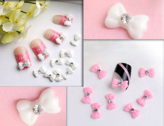 Hey, I found this really awesome Etsy listing at https://www.etsy.com/listing/166247947/10-pcs-3d-white-bow-tie-rhinestone-nail