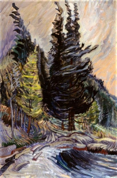 Trees by Emily Carr (oil on paper on board; c. 1932)
