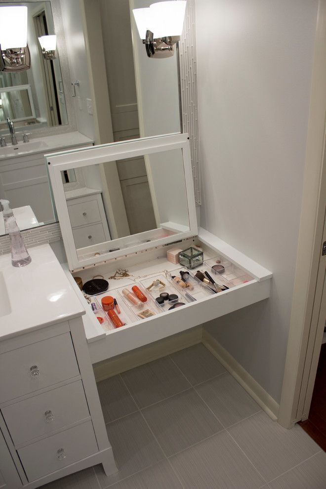 Vanity Organization Ideas Chrome Denhelm 1 Light Bathroom
