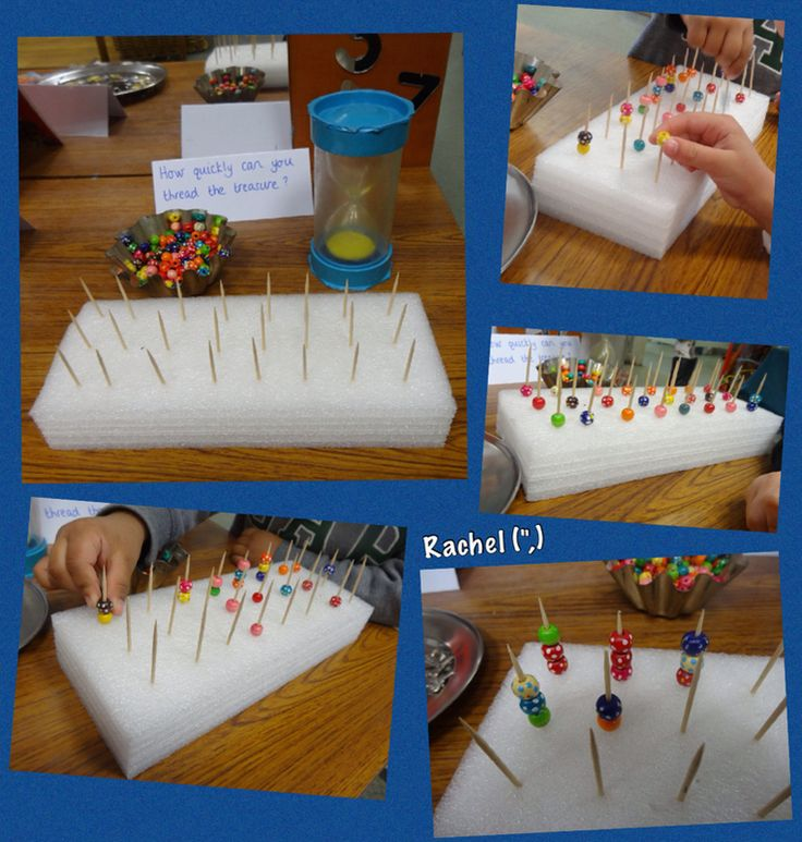 "Pirates: Threading 'treasure' onto cocktail sticks - fine motor fun from Rachel ("",)"