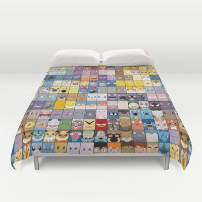 The Pokemon First Generation Duvet Cover by Jorden Tually Art - $99.00