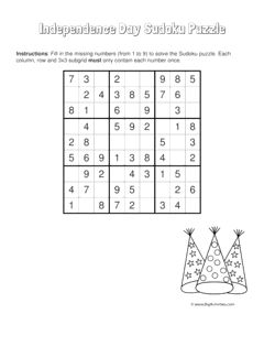 Independence Day sudoku puzzle with a picture of party hats. 4 levels of difficulty. Sudoku puzzle changes each time you visit