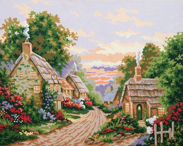 Collection d'Art:11.865 Cottage Lane - CANVAS ONLY - Penelope Antique Canvas, colour printed design. Canvas size 40cm X 60cm with DMC thread recommendations.