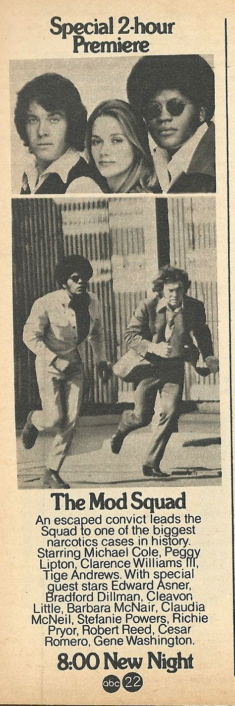 The Mod Squad premiered on Tuesday, Sept. 24, 1968 on ABC. The series ran through 1973.