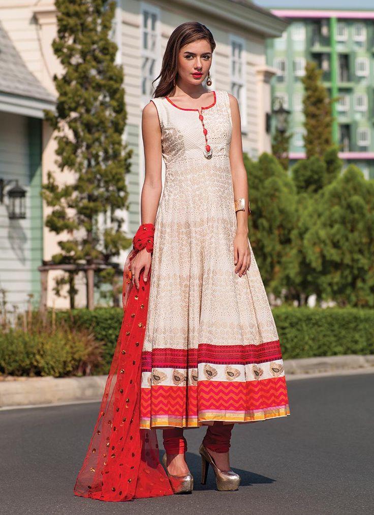 Off White Cotton Anarkali Suit