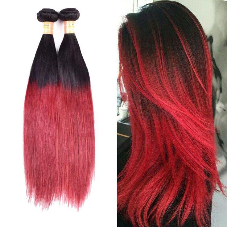 "3Bundles 1B/BURG Human Hair Extension Straight Hair Weft 14""16""18"" 300g #Unbranded #StraightBundle"