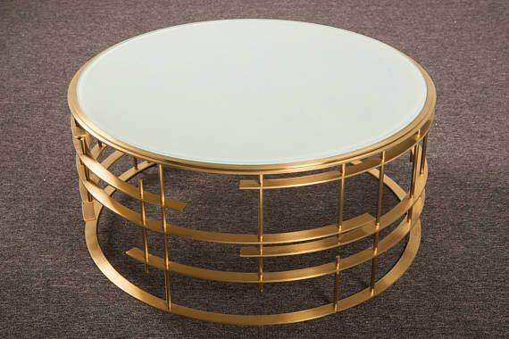 Round Glass Gold Cocktail Table With Images Gold Cocktail
