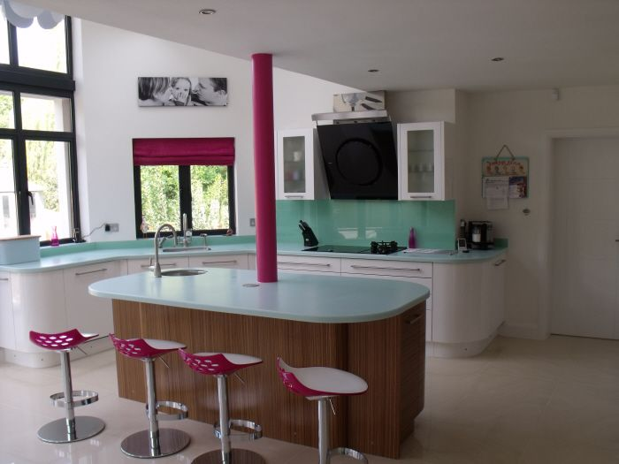 dupont corian countertops in mint ice are well with sporadic pops of pink
