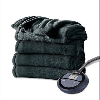 Electric Heated Microplush Blanket Soft Throw Heat Warm Warming Cover King Blue