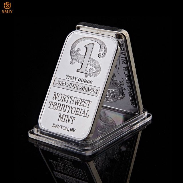 1 Troy Ounce 999 Fine Sliver Plated Northwest Territorial Mint Dayton Nv Replica Bullion Bar Silver Commemorative Coin Gif Bar Gifts Silver Bars Commemoration