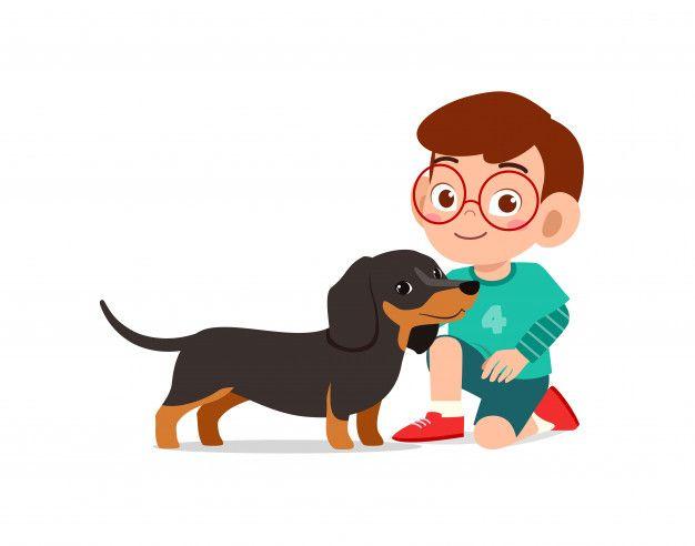 Feliz Lindo Nino Nino Nina Jugar Con Per Premium Vector Freepik Vector Ninos Ninos Jugando Ilustracion De Perro