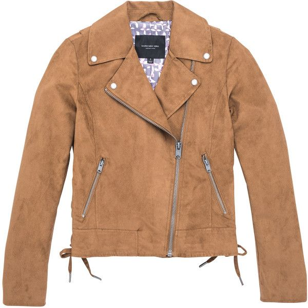 Marc New York - Farryn - Faux Suede Moto Jacket (400 BRL) ❤ liked on Polyvore featuring outerwear, jackets, cognac, leather jackets, cognac moto jacket, beige jacket, marc new york, beige moto jacket and biker jackets