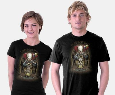 We all float down here and you'll float too when you wear the Stephen King's IT Floating T-Shirt.  Pennywise the clown and poor Georgie get new looks from artist Saqman, who gives us an idea of what Stephen King's IT would look like if brought to the big screen by Tim Burton. Is the world ready fo