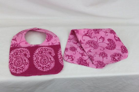 Ready to ship Pink Bib and Burp cloth by kernscraftcorner on Etsy, $9.00